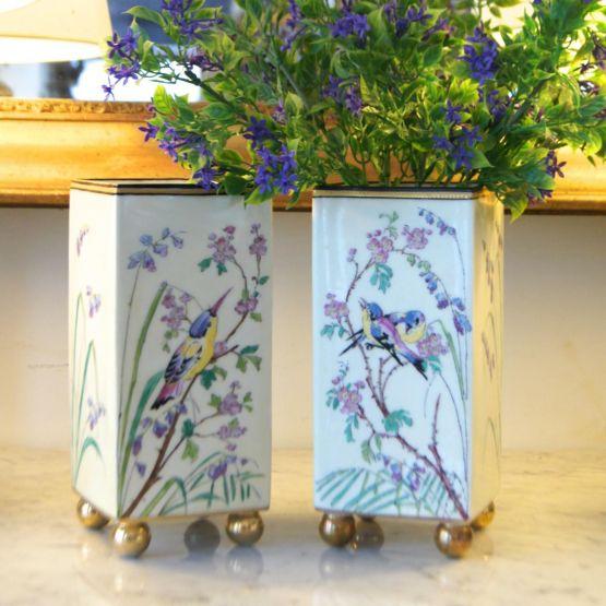 Две прямоугольные вазы из фарфора, ХХ в.