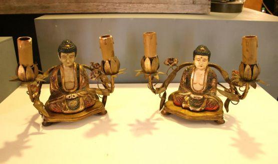 Две лампы с фигурками Будды, XX в.