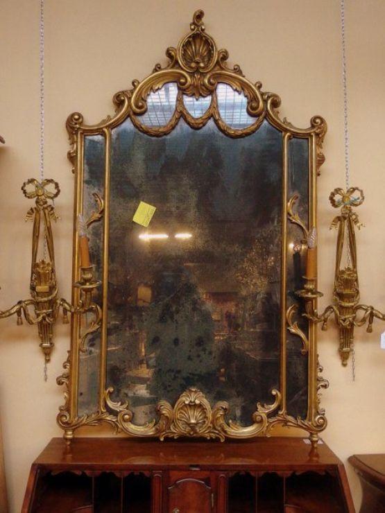 Старинное зеркало в стиле Людовика XV