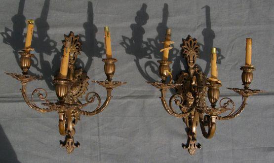 Два трехрожковых бра, бронза, эпоха Наполеона III