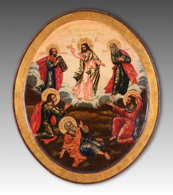 Круглая икона 'Преображение Господне'. Россия,  XI