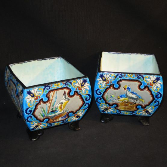 Две фаянсовые жардиньерки.  Vieillard, XIX в.