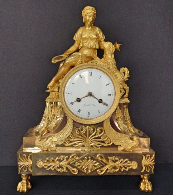 Часы 'Женщина с собакой'. Gaudet, XIX в.