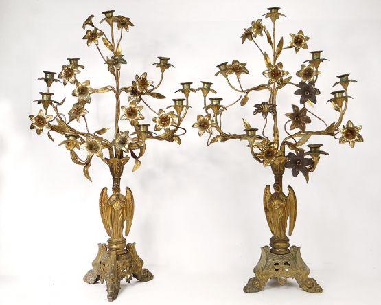 Два алтарных канделябра из бронзы, XIX в.
