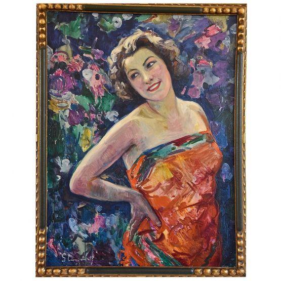 Картина в стиле Арт-Деко. 'Дама  в цветущем саду'