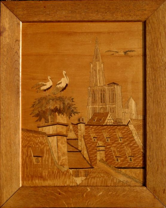 'Аисты на крыше Страсбурга'. J. Aufderbruck, ХХ в.