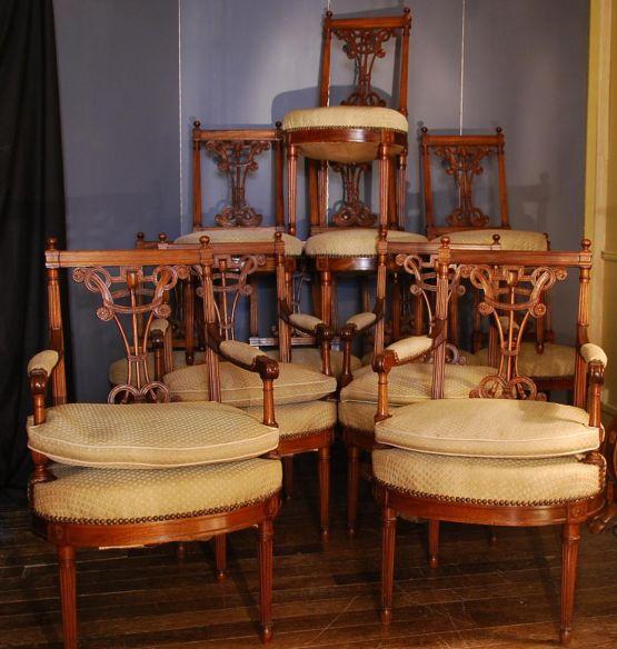 4 кресла и 8 стульев в стиле Людовика XVI, XIX в.