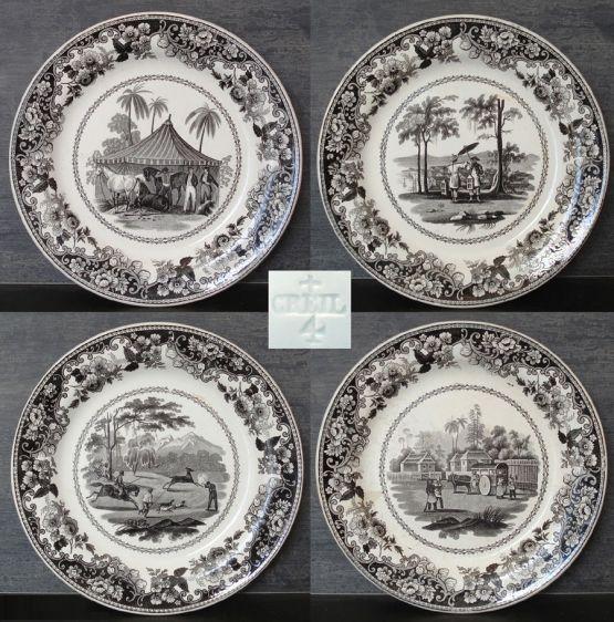 4 фаянсовых тарелки гризайль. De Creil,  XIX в.