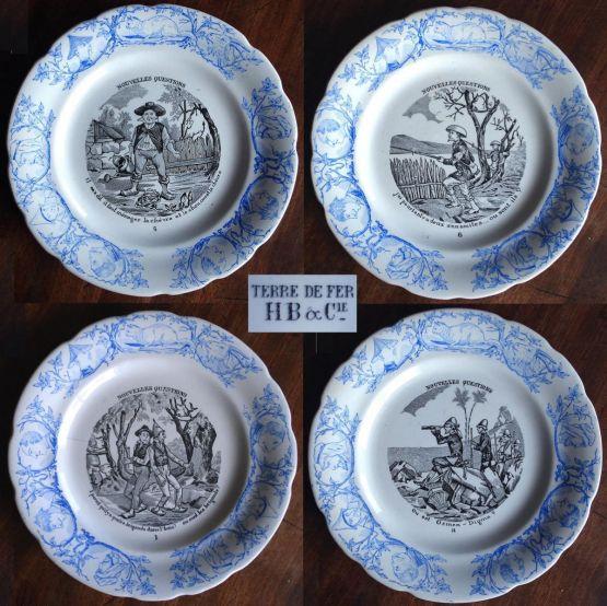 4 тарелки 'Загадки'. Choisy, XIX в.