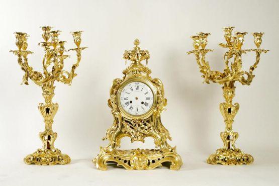 Часы и подсвечники из позолоченной бронзы, XIX в.