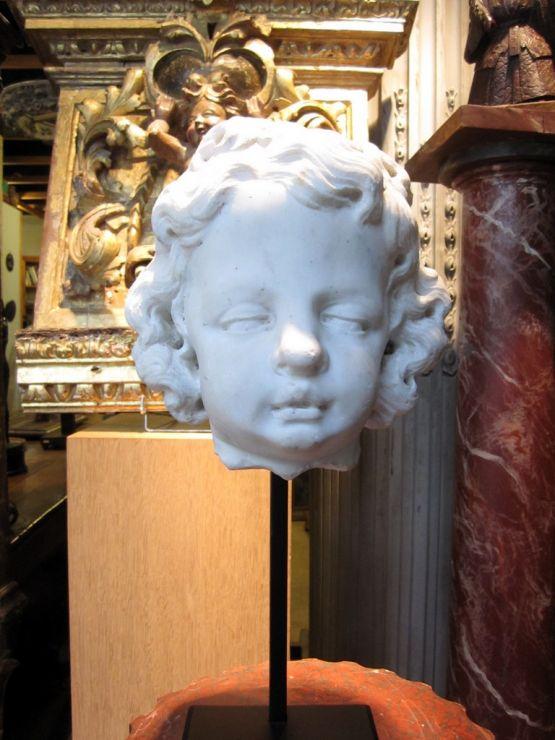 Мраморная скульптурная голова ангела, XVIII в.