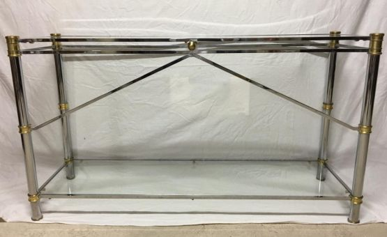 Консоль из хромированной латуни, стекла и стали