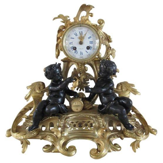 Часы из позолоченной бронзы Oberto Reims, XIX в.