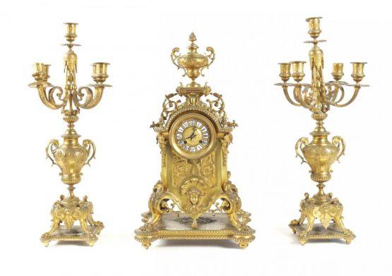 Канделябры и часы из позолоченной бронзы, XIX в.