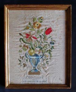 Вышитый шелком букет цветов, XIX  в.