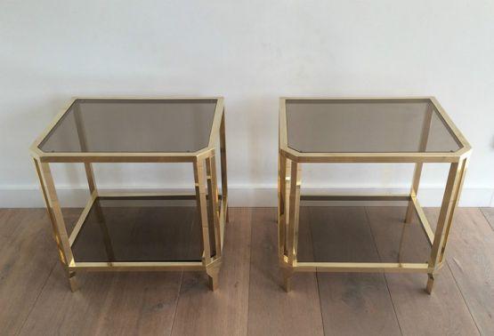 Два столика из стекла и латуни. 1970 г.