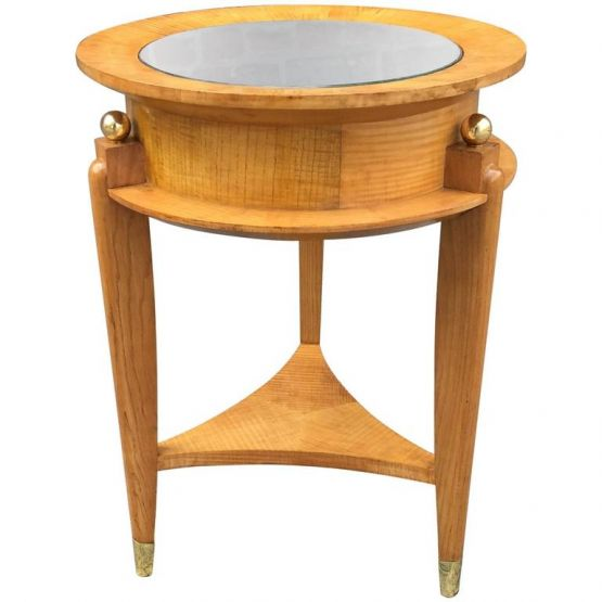 Круглый столик из платана и бронзы, 1940 г.