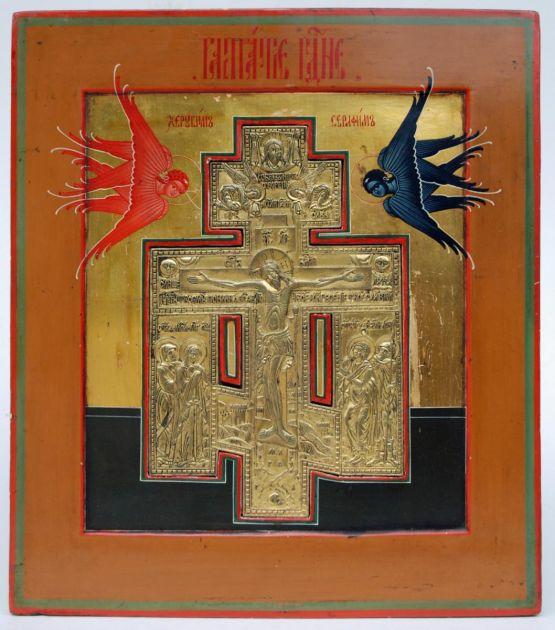 Икона с позолоченным крестом. Россия, XIX в.