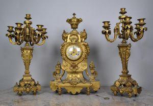 Каминный набор  с часами. Франция, XIX в.