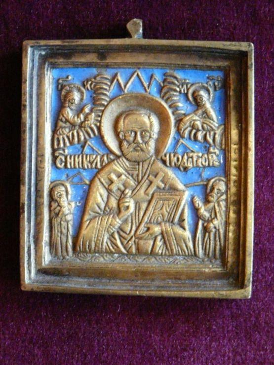 Дорожная икона Святого Николая. Россия, начало XIX