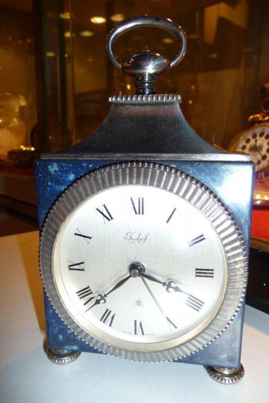 Часы из посеребренного металла и лазурита. Imhof,
