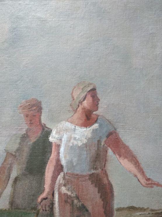Двухсторонняя картина 'Сбор урожая', 'Прачки'