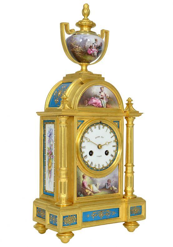 Часы из бронзы и фарфора. Raingo, XIX в.