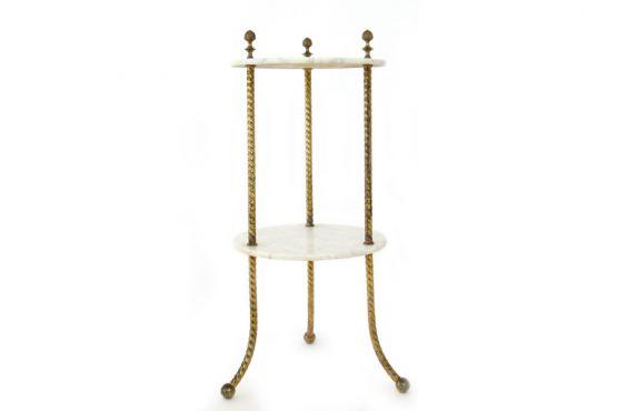 Приставной столик из мрамора и латуни, 1950 г.