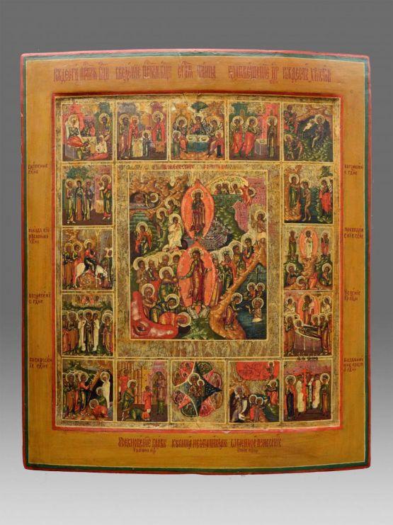 Большая праздничная икона. Россия, XIX в.