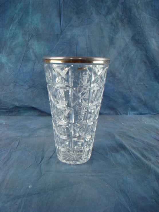 Хрустальная ваза с серебряной кромкой, 26 см