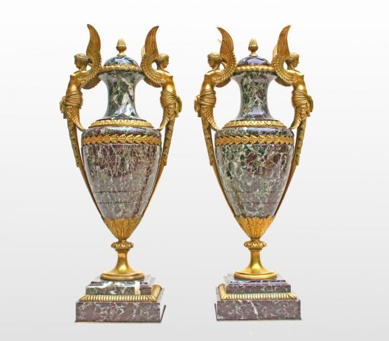 Роскошные вазы из мрамора и бронзы,  XIX в.