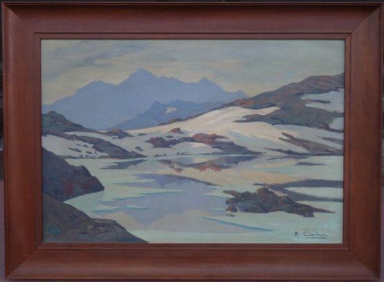 Пейзаж 'Горное озеро'.  Maurice Cambon, XX в.