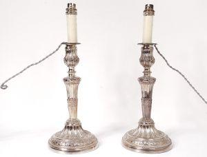 Два подсвечника  из посеребренной бронзы, XIX в.