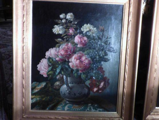 Картина маслом на холсте 'Пионы', Godchaux, XIX в.