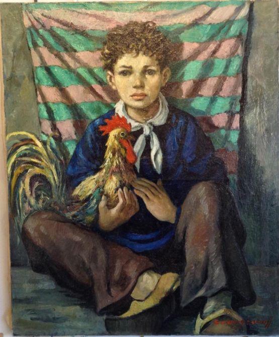 'Мальчик с петухом'. Anatola Soungouroff, XX в.