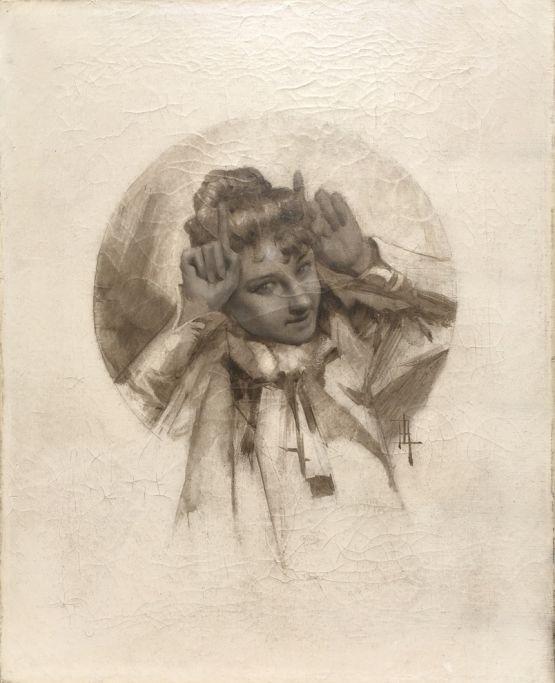 Портрет девушки. René Lelong, XIX в.