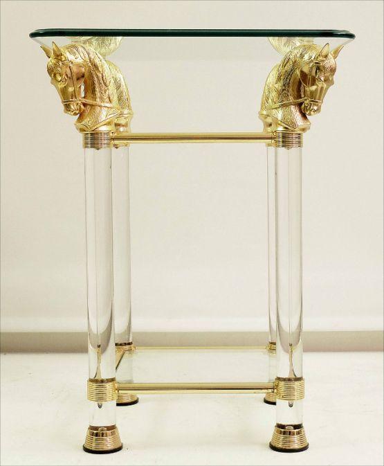 Столик из стекла и латуни