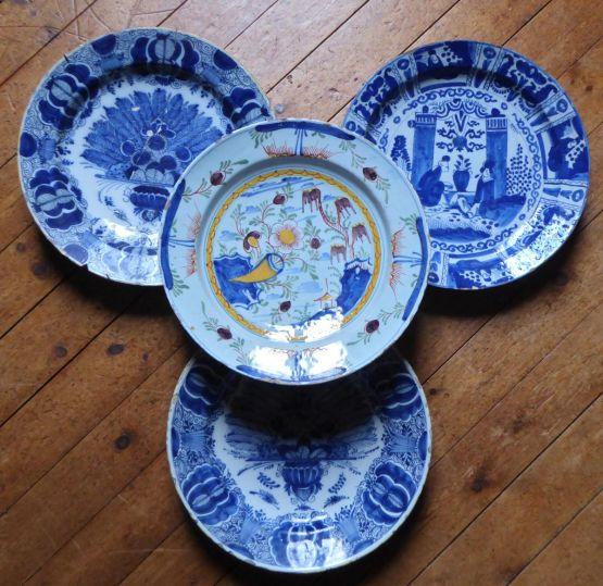 4 тарелки из делфтского фаянса, XVIII в.