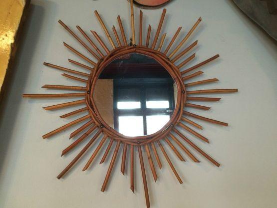 Винтажное зеркало из ратанга