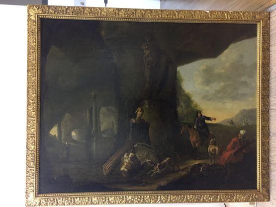 Картина «Всадник на коне с собакой на развалинах»