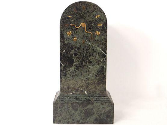 Часы-монумент из зеленого мрамора. Denière, XIX в.