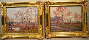 Два пейзажа Jean-Baptiste Brunel, XIX в.