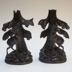 Два подсвечника из резного дерева, конец XIX в.