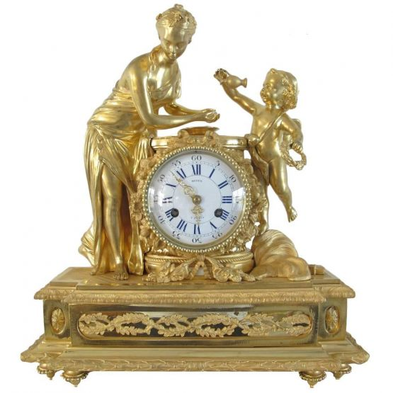 Часы из позолоченной бронзы. Moser, XIX в.