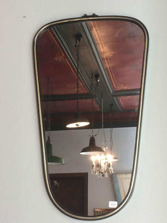 Старинное латунное зеркало в раме