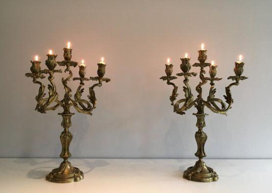 Два канделябра на пять свечей, бронза, ок. 1900 г.