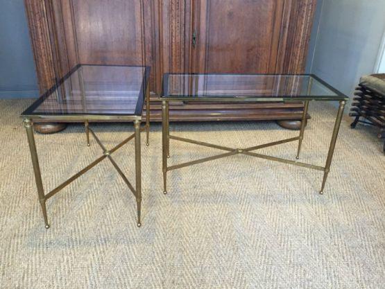 Пара придиванных столиков из бронзы и стекла
