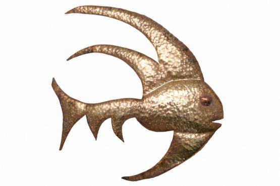 Настенная скульптура рыбы из латуни