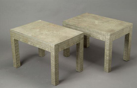 Пара  столиков серебристого цвета. Индия, XIX век.