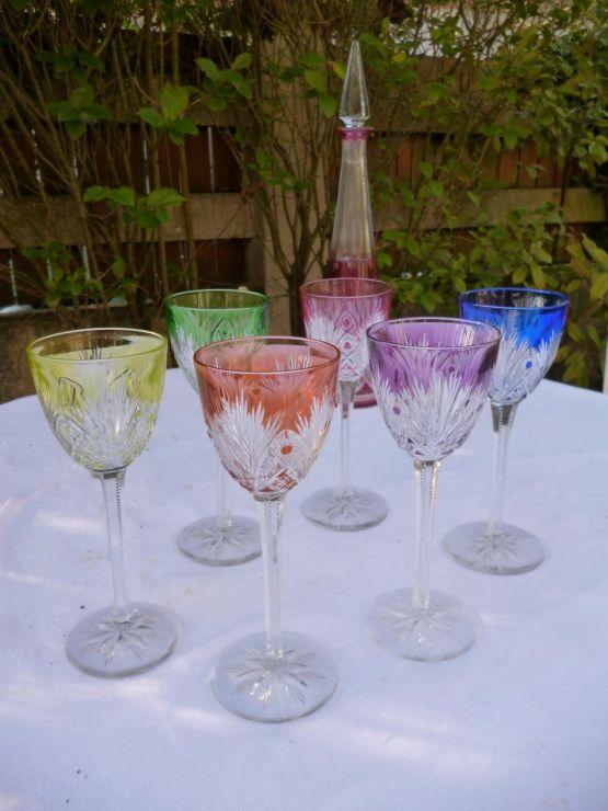 6 бокалов из цветного хрусталя баккара